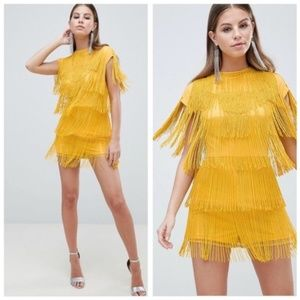 NEW ASOS heavy romper jumpsuit beaded dress us 4